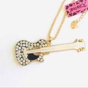 Silver Crystal Guitar Necklace